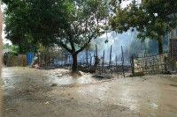 One of 25 houses that security forces say were set on fire in Warpeik, in Maungdaw Township's Kyikanpyin village-tract, after an aborted attack on border police quarters on 12 October 2016. (Photo: MOI)