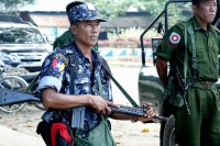 "Police and army personnel in Maungdaw Township, Arakan State, during a ""clearance operation"" in the wake of attacks on border police on 9 October, 2016. (Photo: DVB)"