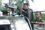 Burmese soldiers on patrol in Arakan State's Maungdaw Township. (Photo: DVB)