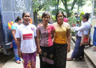 The tree female defendants were indicted on two counts of unlawful assembly each on 17 October 2016, said the group's lawyer Aung Thurein Tun. (PHOTO: DVB)