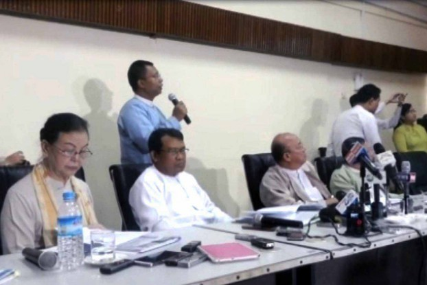 Members of the Myanmar National Human Rights Commission previously held a press conference to defend themselves on charges of neglecting their duty in a case involving the alleged torture and abuse of minors. (PHOTO: DVB)