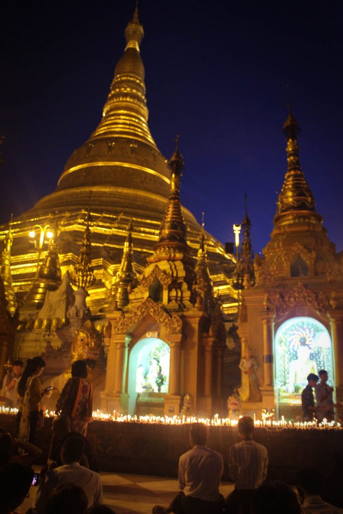 Shwedagon Pagoda lit up at night. (Photo: Libby Hogan / DVB)