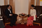 State Counsellor Aung San Suu Kyi speaks with Japan's Foreign Minister Fumio Kishida in Tokyo on 3 November 2016. (Photo: State Counsellor's Office)