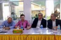 UN Resident and Humanitarian Coordinator Renata Lok-Dessallien, second left, and other senior diplomats speak to reporters at a press conference in Sittwe on 3 November 2016. (Photo: DVB)