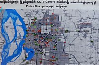 A map showing areas where new CCTV cameras will be installed in Mandalay. (Photo: DVB)