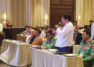Information Minister Pe Myint speaks at the opening of a conference on media development in Naypyidaw on 7 November 2016. (Photo: DVB)
