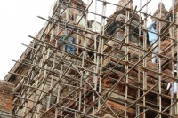 The government says this renovation work at Htilominlo Temple in Bagan is unauthorised. (PHOTO: DVB)