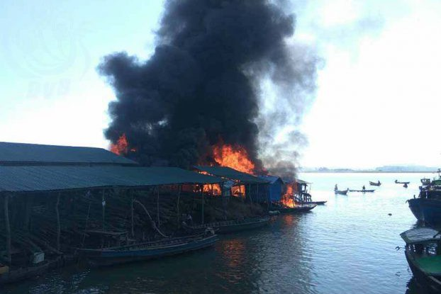 A fire department official in Minbya told DVB at around noon on Friday, 25 November, that the fire was still burning strong. (PHOTO: DVB)