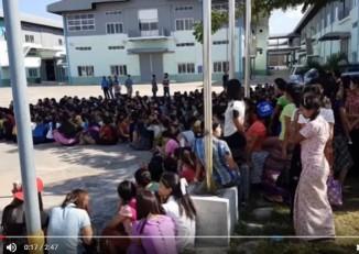 Employees at the Korean-owned Myanmar DYC show factory began industrial action on 12 November 2016. (DVB TV footage)