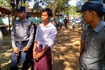 Nyein Chan is  led into Letpadan township court on 15 December 2016. (PHOTO: DVB)