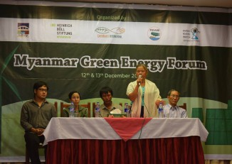 Organisers of the Myanmar Green Energy Forum hold a press conference in Rangoon on Tuesday. (Photo: Kimberley Phillips / DVB)