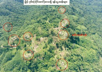 An aerial map purports to show Kachin Independence Army positions captured by the Burma Army on Tuesday. (Photo: Office of the Commander-in-Chief)