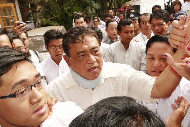 Eleven Media CEO Than Htut Aung outside the courthouse in Rangoon on Friday. (Photo: DVB)