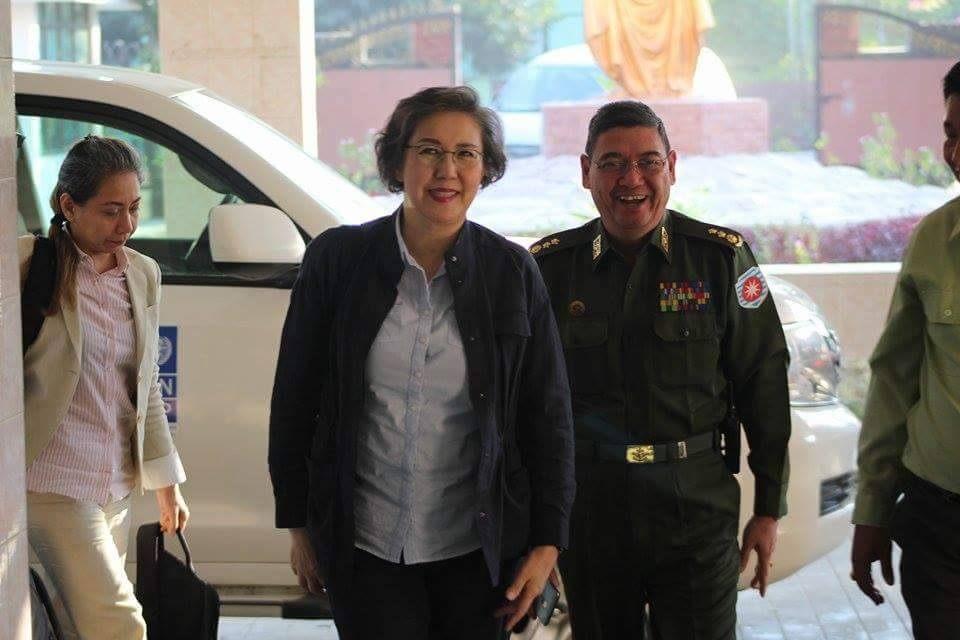 UN special rapporteur on human rights in Burma Yanghee Lee, centre, arrived in Arakan State on Friday. (Photo: DVB)