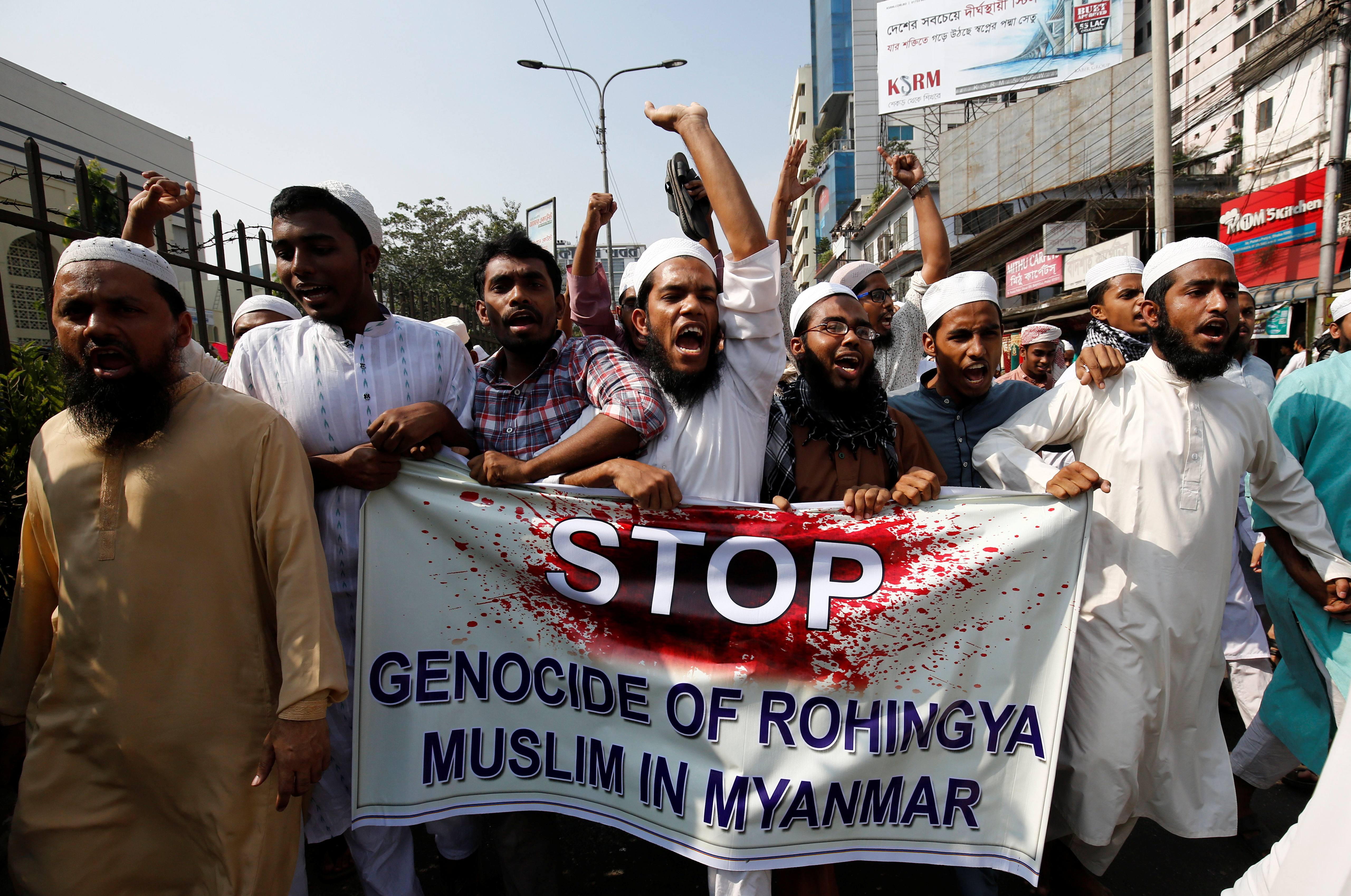 Bangladeshi activists of an Islamic group protest against the deaths of Rohingya Muslims in Arakan State, in Dhaka, Bangladesh, on 1 December 2016. (Photo: Reuters)