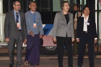 Yanghee Lee, second right, arrives for her fifth visit to Burma as the UN special rapporteur on human rights in the country. (Photo: DVB)