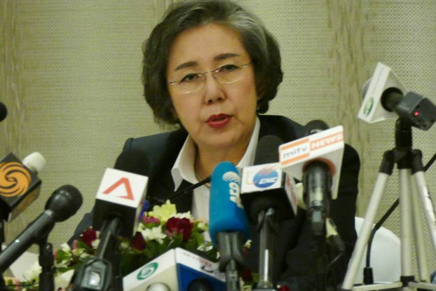 Yanghee Lee speaking in Rangoon on Friday, 20 January 2016. (PHOTO: DVB)