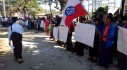 Taungup residents protest outside City Hall. (Photo: DVB)