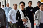 Burma's State Counsellor Aung San Suu Kyi arrives for talks with PPST delegates in Naypyidaw on 24 January 2017. (PHOTO: State Counsellor's Office)