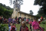 Devotees leave a Roman Catholic church in Karenni State. [NOTE: Not Kachin State as previously reported] (PHOTO: DVB)