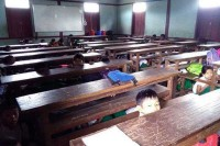Children at a school in Namhsan hide under their desks as gunfire breaks out in the town on 10 January 2017.  (PHOTO provided to DVB)
