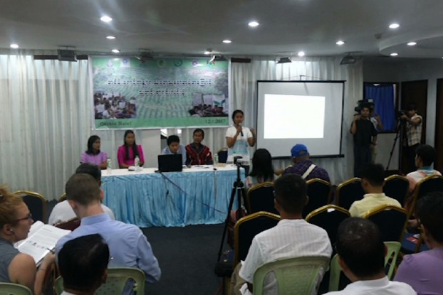 """A coalition of environmental organisations and activists released the """"Green Desert"""" report on 12 January, 2016 in Rangoon. (Image: DVB TV)"""