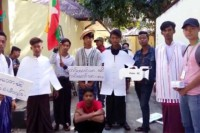 The military  in Bassein wishes to press charges against these nine students for acting out an ant-war skit. (PHOTO: DVB)