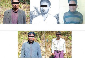 Mug shots of the five men arrested this week who the government has accused of playing a role in last year's violence in northern Arakan State. (Photo: Global New Light of Myanmar)
