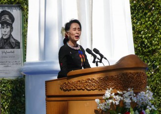 State Counsellor Aung San Suu Kyi gives the keynote address at a Union Day commemoration ceremony in Panglong, Shan State, on 12 February. (Photo: DVB)