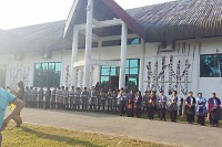Police bearing riot shields form a blockade outside Majoi Hall in Myitkyina, Kachin State, on Thursday. (Photo: Khon Ja)