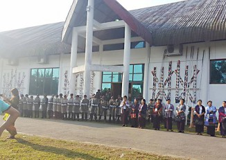 Police bearing riot shields form a blockade outside Majoi Hall in Myitkyina, Kachin State, on Thursday. (Photo: Khon Ja)
