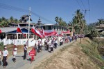 Protesters in northern Arakan State on Friday voiced their opposition to the newly launched May Yu FM radio station. (Photo: DVB)