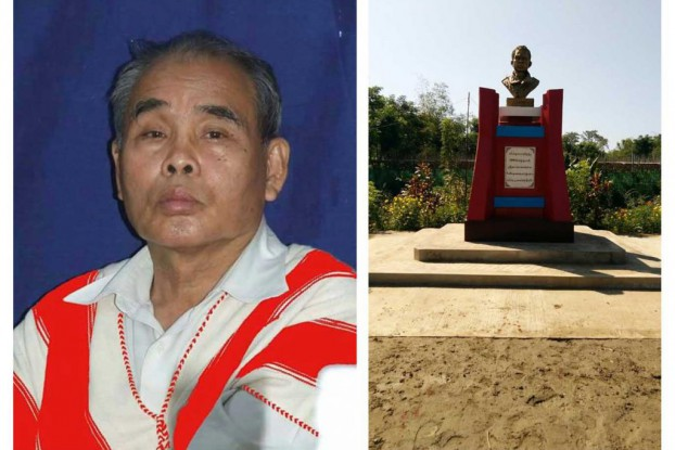 Former KNU general secretary Padoh Mahn Sha (left), and the bust of him that is soon to be unveiled in his home town in the Irrawaddy Delta.