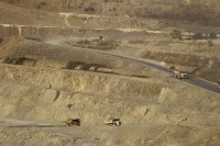 Trucks are seen at the Letpadaung copper mine in Sarlingyi Township, Sagaing Division, on 14 March 2013. (Photo: Reuters)