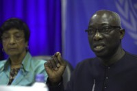 Adama Dieng, right, the United Nations special adviser for the prevention of genocide, addresses a news conference at the UN base in Juba on 30 April 30 2014. (Photo: Reuters)
