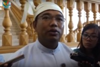 Lawmaker Lin Zaw Tun of the Union Solidarity and Development Party speaks to reporters at the parliamentary complex in Naypyidaw on 27 February. (Image: DVB)