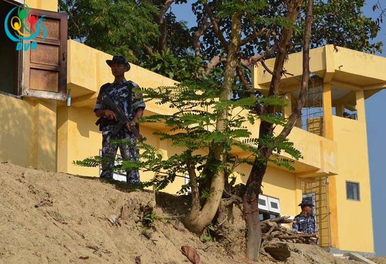 Burmese border police stand guard at an outpost in Arakan State. (Photo: DVB)