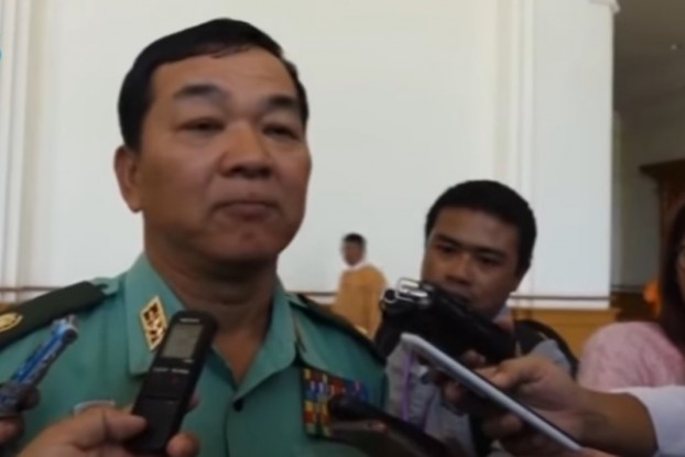 Brigadier General Maung Maung, a military representative in the Lower House of Parliament, speaks to reporters on 27 February 2017. (Image: DVB)