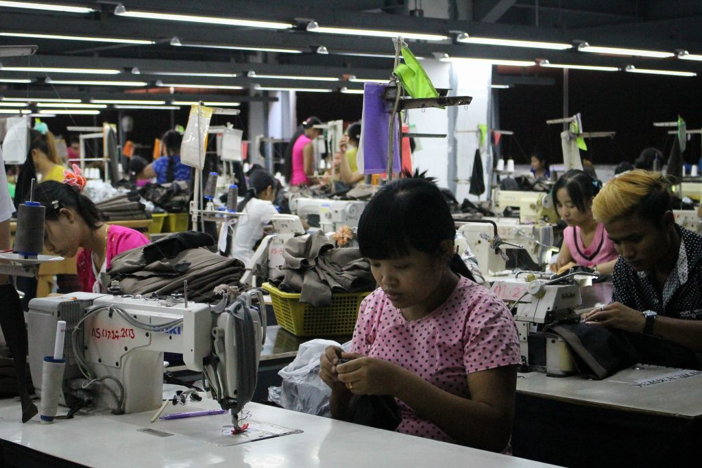 Young worker at a factory in Hlaing Tharyar, the industrial hub of Rangoon, home to many garment factories. (Photo: Libby Hogan / DVB)