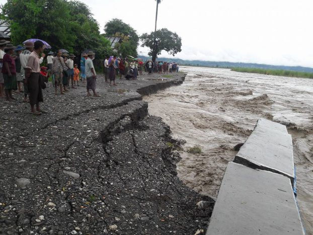 An eroded riverbank in Kalay, western Chin State. September 2017. (PHOTO: DVB)