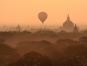 The ancient temples of Bagan as seen at sunrise in a hot-air balloon. (PHOTO: Reuters)