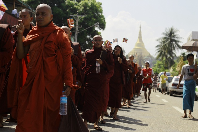 Buddhist monks  protest near Shwedagon Pagoda against the opening of the Organisation of Islamic Cooperation offices in Burma in October 2012. (PHOTO: Reuters)