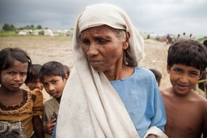 A displaced Rohingya woman at an IDP camp outside Sittwe. (Photo DVB)