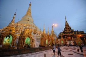 Tourists visit the famed Shwedagon Pagoda in Rangoon (AFP)