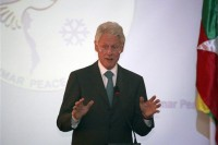 Former US President Bill Clinton speaks at the Myanmar Peace Centre in Rangoon on 14 November 2013 (AP).
