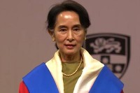 Aung San Suu Kyi after receiving two honorary degrees in Sydney, Australia on Monday. PHOTO: DVB