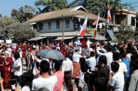 In this file photo, some 3,000 Arakanese Buddhists take to the streets of Sittwe to demand that international agencies are expelled from the area. (PHOTO: Sittwe Community FB)