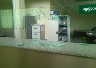 Broken glass at the counter of the Myawady Bank in Muse, pictured on 26 April 2015. (PHOTO: Myawady)